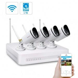 Kit Videosorveglianza WiFi 8 Canali Foscam con 4 Telecamere IP Wireless Full HD 1080P con sistema Mesh e Hardisk 1 TB Incluso