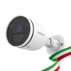 Foscam S41 Telecamera Ip Wifi Dual Bullet con faro LED integrato 4 Megapixel Wifi Dual 2.4/5Ghz HD 2K visione notturna, rilevamento movimento e allarme