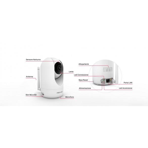 [IDEALE CONTROLLO ANZIANI] Foscam R2M Motorizzata 2 Megapixel Full-HD1080P 100° Visione Diagonale compabile con Alexa