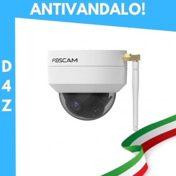 [ANTIVANDALO / ESTERNI] D4Z Telecamera IP da esterno Motorizzata Foscam Wifi 4 megapixel 1080P Antivandalo Colore Bianco