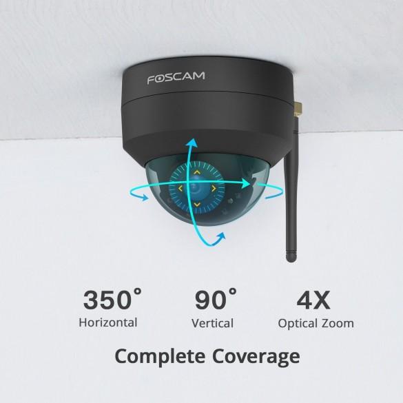 [ANTIVANDALO / ESTERNI] D4Z Telecamera IP da esterno Motorizzata Foscam Wifi 4 megapixel 1080P Antivandalo Colore Nero